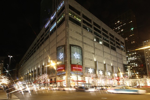Exterior Holiday Decor Design for Water Tower Place, Chicago's Magnificent Mile.