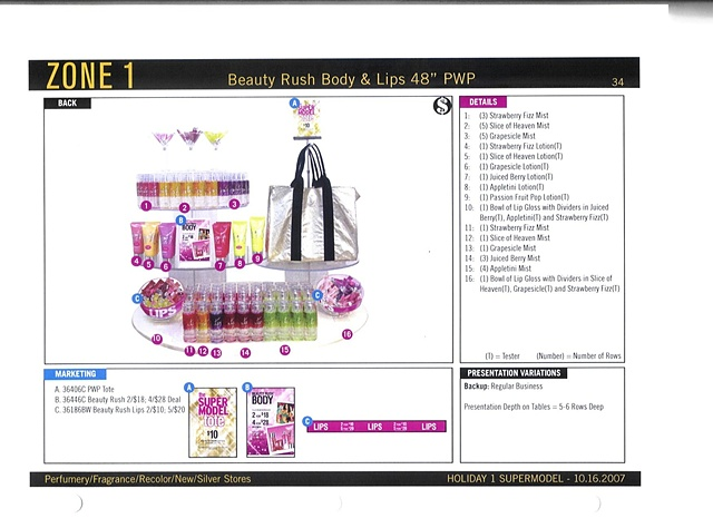 Victoria's Secret Beauty Brand Guide Page, Corporate Communications: Holiday Feature Table, Back View