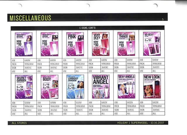 Victoria's Secret Beauty Brand Guide Page, Corporate Communications: Holiday Signage and Graphics, Sample Page