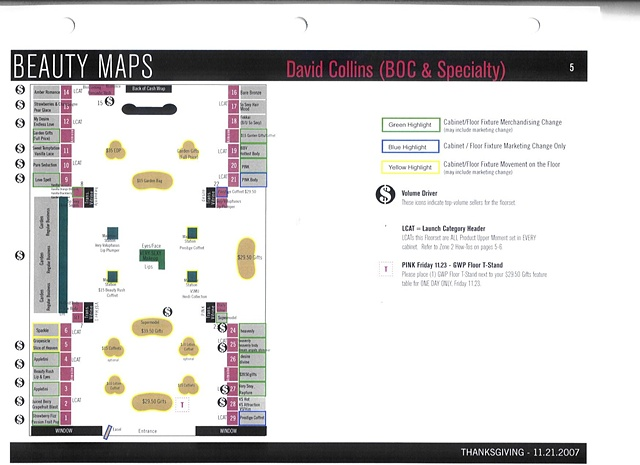 Victoria's Secret Beauty Brand Guide Page, Corporate Communications: Detail of Holiday Floorset Planogram, Sample Page