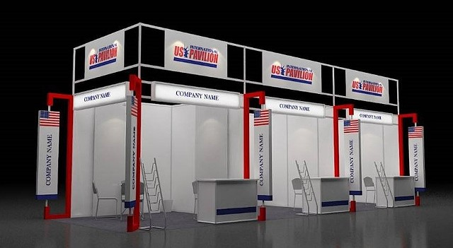 Rendering for US International Pavilion at  DefExpo Tradeshow