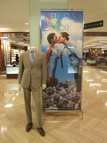 Macy's Corporate Marketing: Welcome Back Color Campaign, Men's Mannequin and Omnibus Graphic