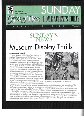 George Little Management: Press Coverage for Museum to Merchant Exhibit, Gifts and Dec Magazine's Show Daily in partnership with the New York International Gift Fair