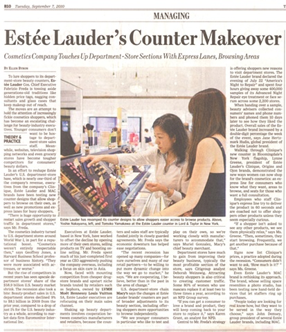 Lord and Taylor: Press Coverage of New Cosmetic Counters in Wall Street Journal