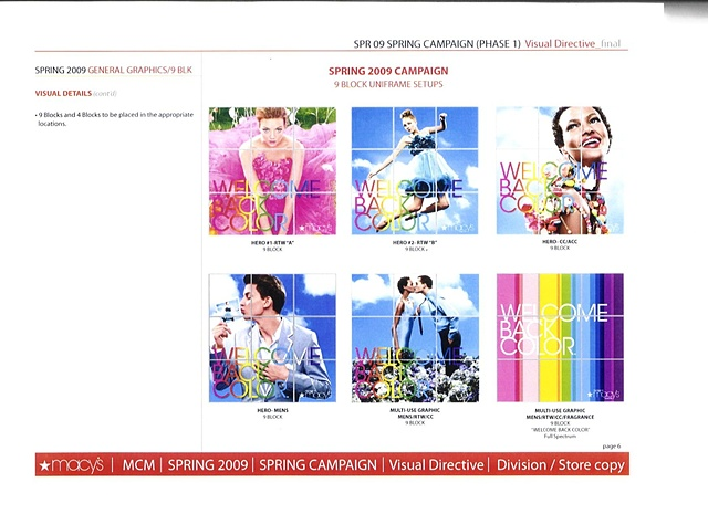 Macy's Corporate Marketing,  Corporate Communications: Welcome Back Color Campaign, National Style Guide, Graphics Direction Page