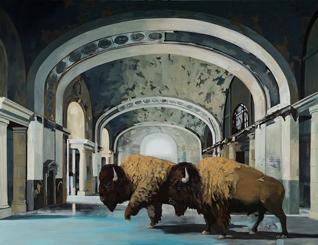 Buffalo in the train station