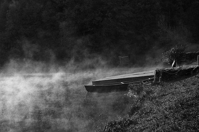 Empty rowboat in morning mist, The Woods Campground, Lehighton PA