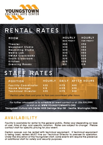 Youngstown Cultural Arts Center Pricing Insert - Front