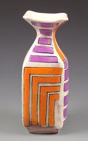 square vase, handbuilt, handpainted, orange stripes, purple stripes