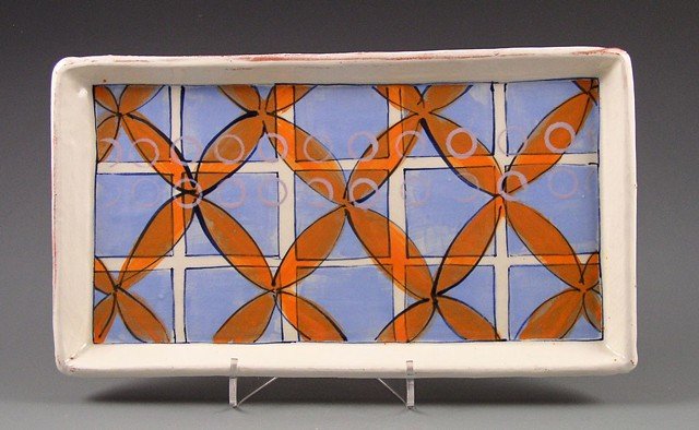 small rectangular tray, handbuilt, handpainted, earthenware, blue grid, orange flowers, lavender rings