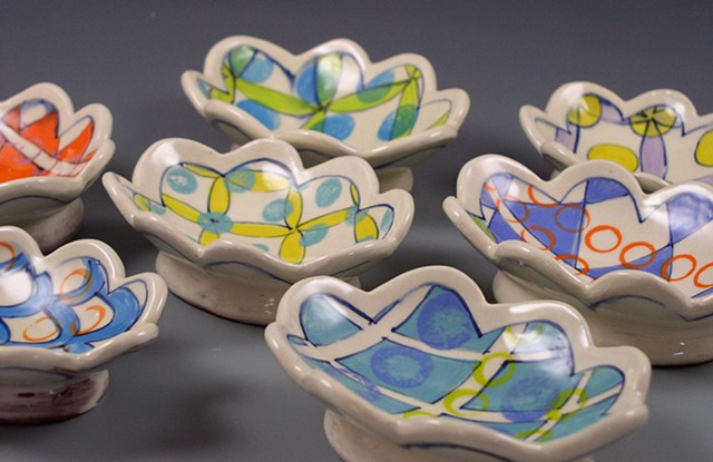 Small oval dishes, soap dishes, handbuilt, handpainted, scalloped, flowers, dots, rings