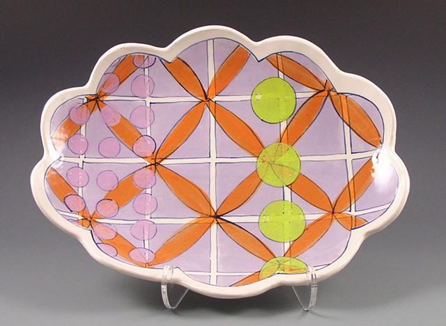 oval platter, medium, handbuilt with handpainted underglaze decoration, lavender, orange flowers, geometric, modern