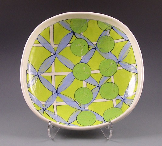 Square serving dish, handbuilt, handpainted, lime grid, green circles, blue flowers, geometric