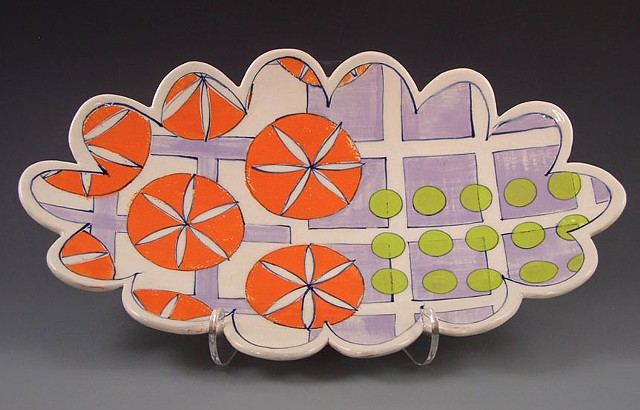 oval platter, large, handbuilt, handpainted decoration, orange slices, lavender grid, green dots, geometric, scalloped