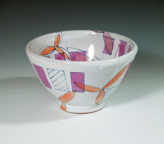earthenware majolica bowl with purple rectangles
