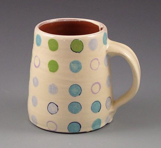 mug, cup, wheel-thrown, handpainted, green dots, blue dots, lavender rings