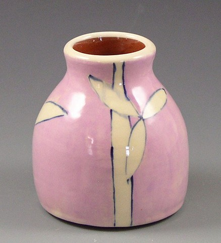 small bud vase, wheel thrown, handpainted, pink, white flowers and stripes