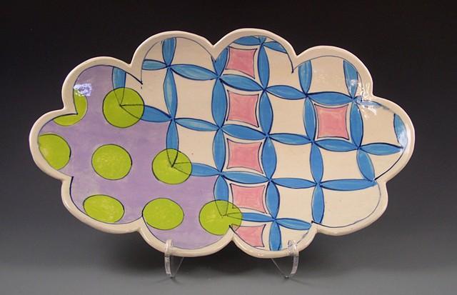 oval platter, large, handbuilt, handpainted decoration, turquoise flowers, green dots, lavender, pink