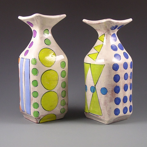 square handbuilt vases with underglaze decoration