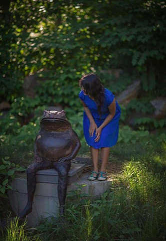 Rana Sentada, Seated Frog Installed at the DeDee Shattuck Gallery in Westport, MA