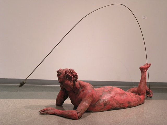 Figurative ceramic sculpture, natural sized, low temperature clay and glaze, steel rod