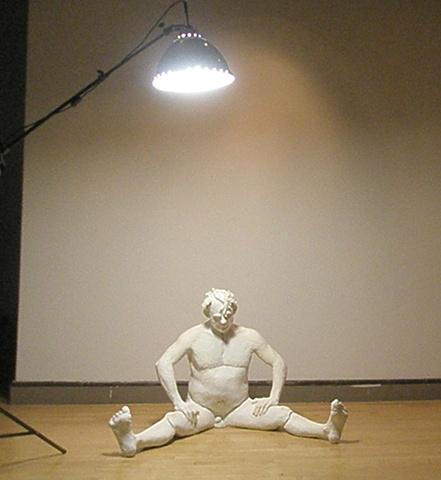 Figurative sculpture, ceramic low temperature clay and glaze