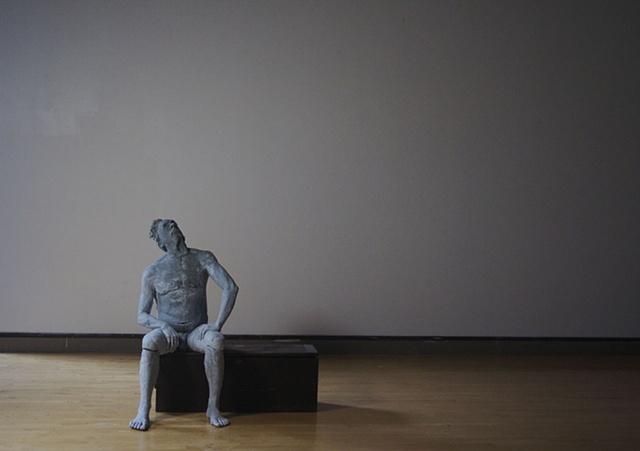 Natural size, ceramic sculpture. Clay, wood, low temperature glaze