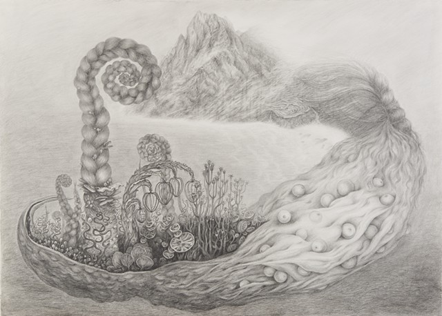 drawing on paper Island beached whales foggy braids