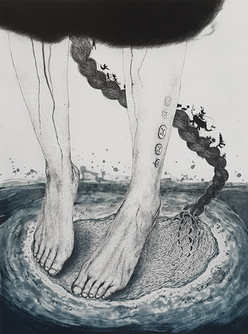 Island, Feet, Sew, string, hair etching