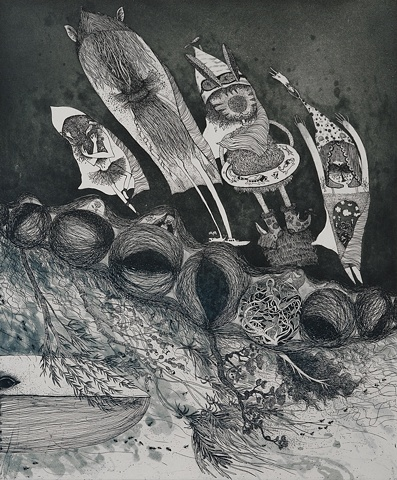 Etching, Ocean, Creature, Whale, Sea, Fantasy