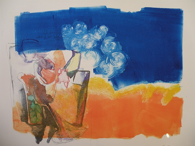 transfer of my drawing of still-life with wineglass, top half blue with circles, bottom half orange