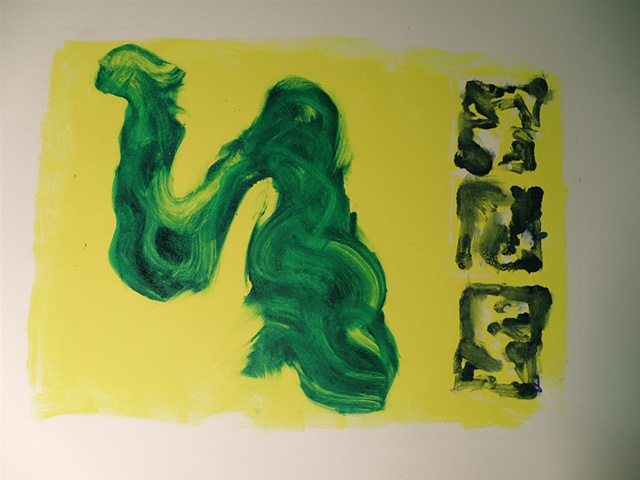 green swirling whoosh of ink, three small blue and white tiles along right-hand margin