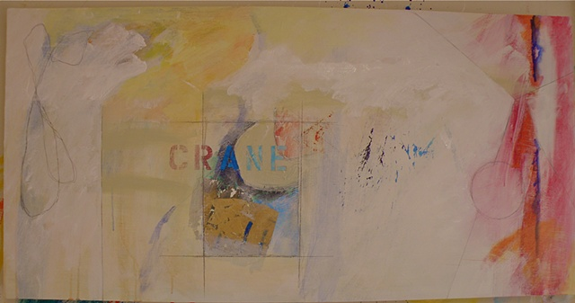 center inset CRANE stencil, with gold square collage, white spaces and red right edge with triangle & circle