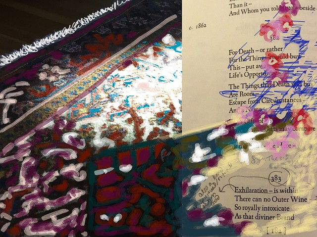 oriental rug, poem and squiggleys