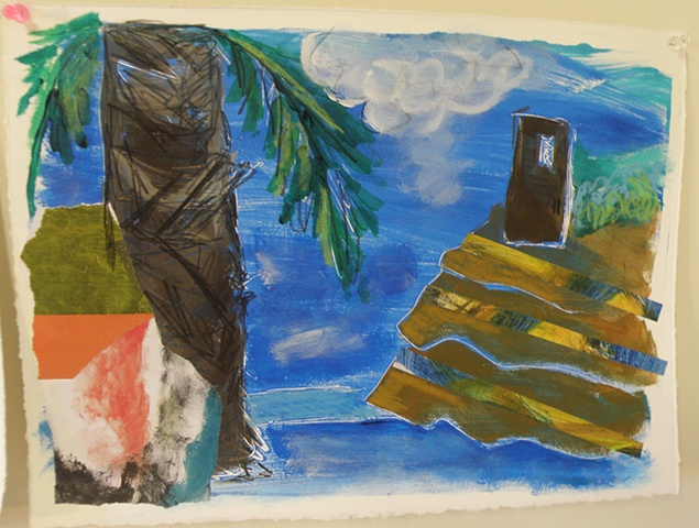 palm tree left with collage overlay, terraced hills with lines of collage right, brown tower top right