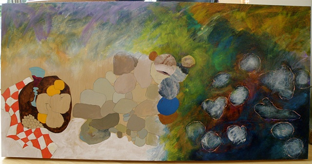 naked board left, checked tablecloth, vari-colored rocks center, lily pads right