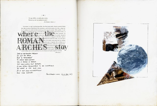 Roman arches excerpt, Stanzas in Meditation, left, and collage geometry right