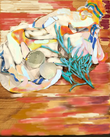 blue sage, blue eggs, over dishtowel