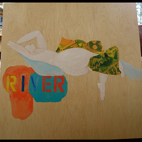 white nude above orange and blue forms, colored RIVER stencil, collaged pillow, mostly wood background