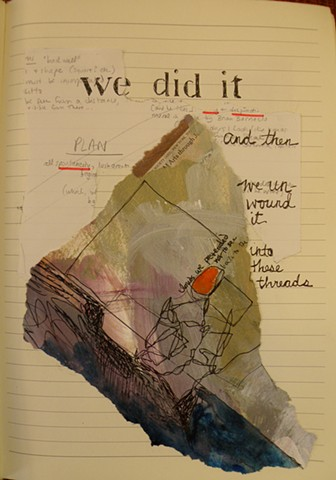 "near-triangular dark grey painted swatch, orange oval, ""we did it"" stencil and script"