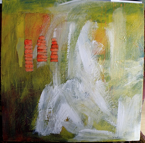Collage of temple columns, red ground, acrylic painting, abstract