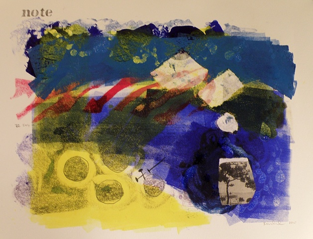 Monotype with collaged photograph, in the colors of the Mediterranean Sea