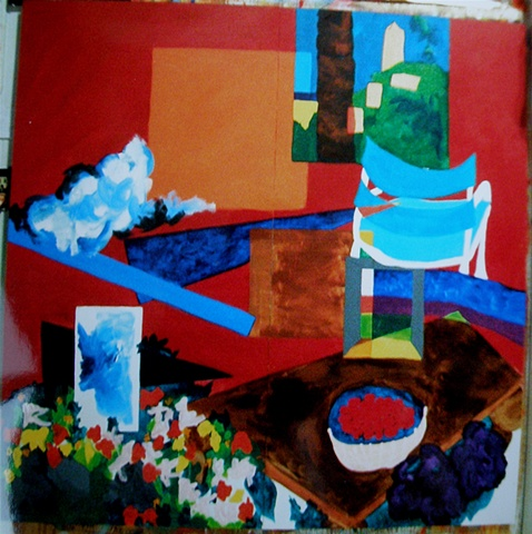 square, with red background, orange square top center, Grasse window, turquoise director's chair