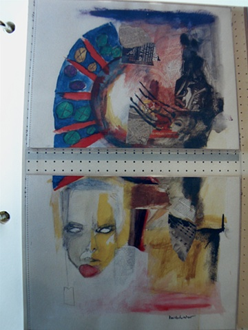 two panels, suspended, grim portrait-face lower left, African-inspired curved blue and red shape upper left