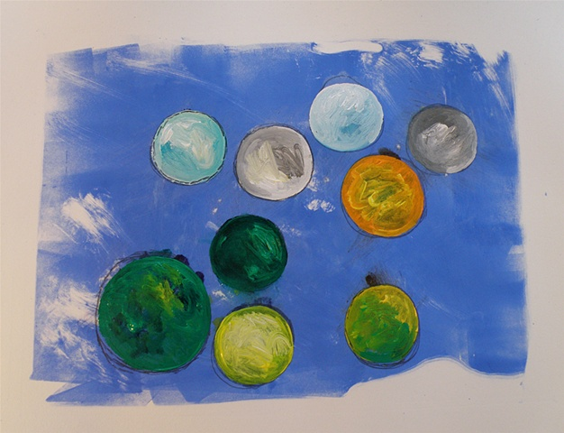circles of blended acrylics, soft brushed blue background of print