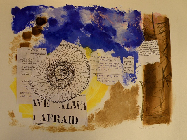 spiral collaged drawing, texts added, AFRAID, right margin in brown