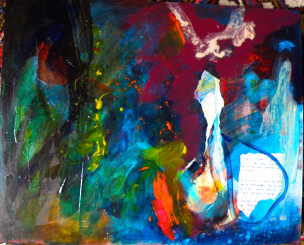 dark blacks and blues, back, and yellow dots and red splash with collaged drawing and writing