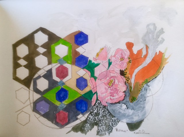 Geometry left, lace below, pink peonies center, rising orange lines right