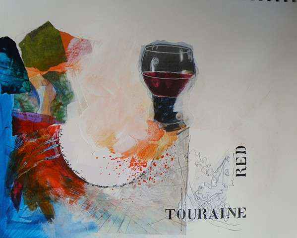 semi-circle left, blue behind, glass of red center, stencil TOURAINE RED