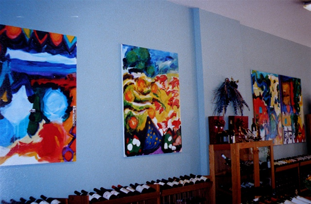 4 paintings along Winesellers wall, 1998